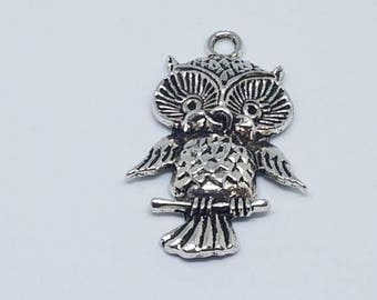 Silver Perched Owl Pendant