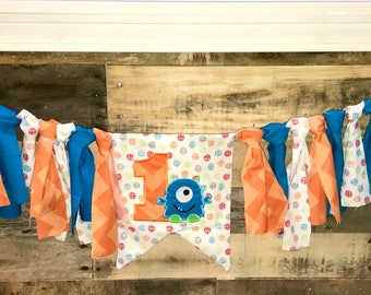 Little Monster First Birthday Banner / High Chair Banner / Wall Hanging