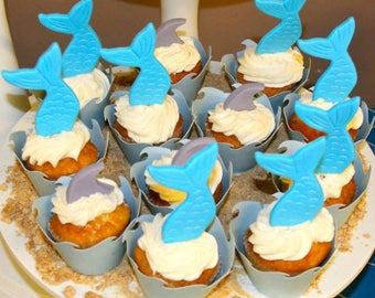 Mermaid tails OR Shark fins  Fondant Cake Topper - any color