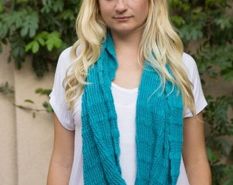 Bohemian Style, Turquoise, All Knit Scarve