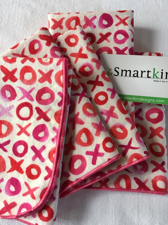 Valentine's Day Red and Pink XOX's All Cotton Cloth Lunch Box Napkin 12x15 in Size by Smartkin