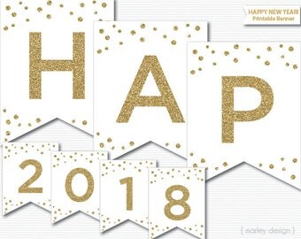 New Years Banner Printable White Gold Glitter New Year's Decorations New Year's Decor New Years Party Digital Download Printable Banner