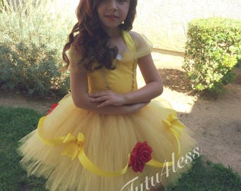 Inspired Bell Tutu Dress, Beauty and the Beast, birthday party, toddler baby girl dresses, costume, red rose