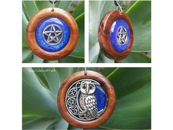 Pentacle, Owl and Moon Red Cedar Double Sided Pendant,reclaimed wood, free shipping,Spiritual Jewelry,Pagan,Wiccan,Witch,Protection Jewelry