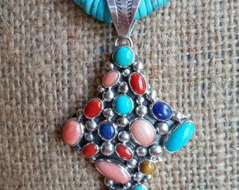 Turquoise Cross Necklace, Native American Cross Necklace, Turquoise Necklace, Turquoise Jewelry,Southwestern Jewelry, NAKAI