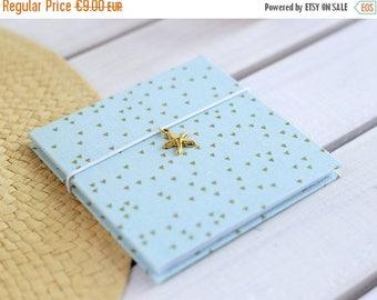 CIJ Small photo album with gold starfish pendant Instagram travel album Vacation accordion scrap book Turquoise portable brag book 4x4 photo
