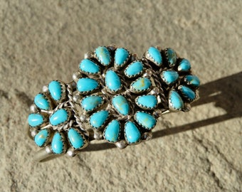 Turquoise Cuff,Vintage Native American Jewelry,Turquoise Petit Point Bracelet,Zuni Turquoise,Navajo Turquoise,Vintage Turquoise Jewelry