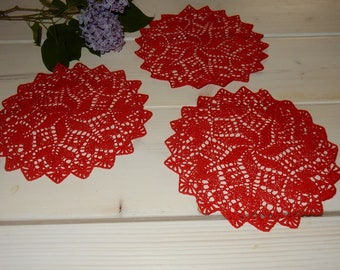Set of 3 swedish hand knitted doilies  / vintage / retro / red