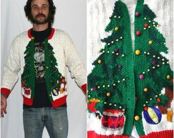 Vintage Christmas Cardigan Sweater. Ugly Holiday Sweater. Awkward Christmas Party Sweater. Christmas Tree  With Bells Glittery Sweater.