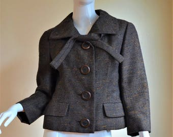 Christian Dior Early 1960s Wool Tweed Suit Jacket Bust 41""