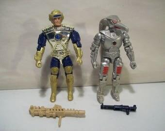 Vintage Lot of 2 Captain Power Action Figures, Soaron Sky Sentry & Captain Power, 1986 Mattel