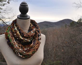 Scrappy Woodlands Crochet Infinity Scarf // Handmade Cowl // Long scarf // Hood