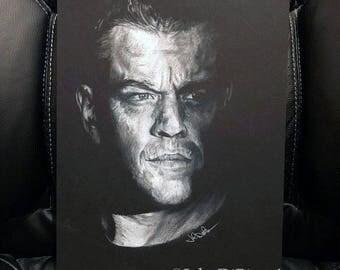 Original White Colored Pencil Drawing of Matt Damon as Jason Bourne (NOT a print)