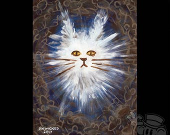 "Unframed 9 x 12 Acrylic Painting on Canvas ""Jennifer"" Abstract Blue Brown White Cat Rat Rats Mouse Mice"