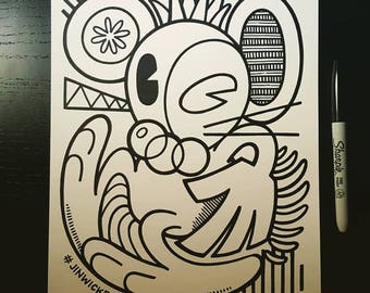 Sharpie Sketch Drawing -  Happy Happy Rat in the style of Picasso