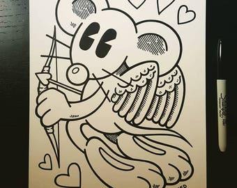 Sharpie Sketch Drawing -  Happy Happy Cupid Rat