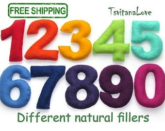 Different natural fillers - Kids Felt numbers - rainbow numbers - Coloured Sensory bean Bags - Montessori Inspired Toy - Easy to Grab Play