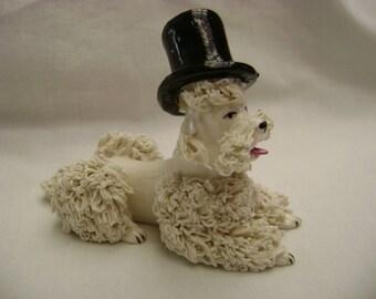 Vintage Spaghetti White Poodle wearing Top Hat