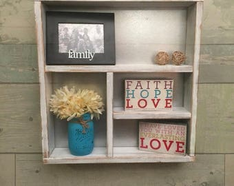 SUMMER SAVINGS Distressed white shelf, distressed shelf, metal shelf, rustic home decor, shelf, vintage shelf, wall shelf, wall decor, home