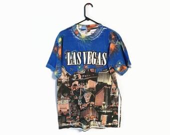 LAS VEGAS T-shirt size L all over print hotels gambling  Men's