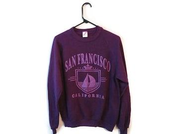 San Francisco California Purple sweatshirt vintage size Large Tourist