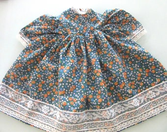 Large Doll Dress Poly Cotton Floral Print Lace Trim