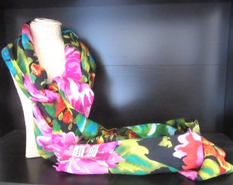 Extra Long Silk Scarf by Express Multicolor Tropical Florals 10.25 x 82 Inches