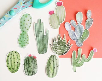 Cactus Sticker Pack - Cacti Stickers - Illustrated Stickers - Hand Cut Stickers - Watercolour Stickers - Journal Stickers