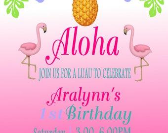 Flamingo and Pineapple Digital Invite