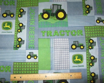 Blue/Green John Deere Blocked Cotton Fabric by the Yard