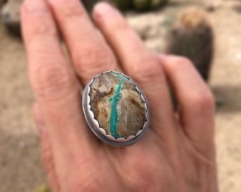 Big Royston Ribbon Turquoise Ring, Sterling Silver Jewelry With Turquoise, Modern Southwestern Jewerly, Size 8, Boho Style Gift For Her
