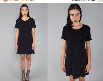 40OFF Vtg 90s Black Metallic Iridescent Sparkle Glitter Mini Dress S