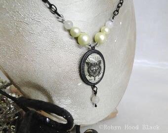 Black Cat Glass Cab Necklace Antique Magazine Illustration Victorian Gothic Gypsy Boho Haunted Necklace