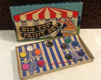 Fun Vintage Paint Set, Watercolor Paints, Big Top Circus, UNUSED, Cardboard, Nice Cond, Imperial Crayon Co., c 1950, Vintage Toy