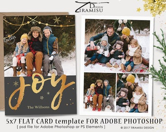 Christmas Card Template, 7x5 in Holiday Card Adobe Photoshop psd Template, sku xm17-3