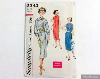 "unused uncut printed vintage one-piece dress pattern * Simplicity 2341 * vintage size 16 bust 36"" waist 28"" hip 38"""