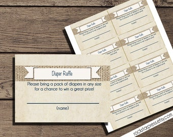 Rustic Diaper Raffle Tickets, Instant  DOWNLOAD _1007