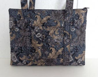 Black Tan Grey Print Quilted Purse