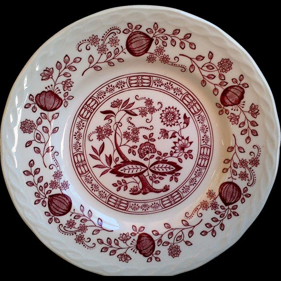"""Ironstone Red Transferware, """"Pink Onion"""" Royal Art, Floral Side Plate, 7"""" Plate, Serving, Wall Decor"""