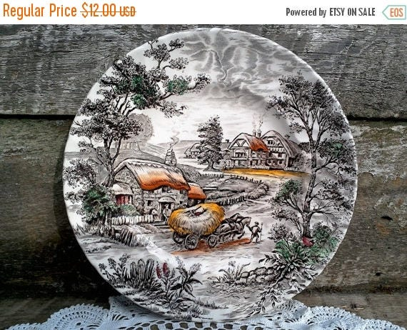 "50% off Brown Transferware ""Yorkshire"" ~ Dinner Plate  9 7/8""  ~ English Transferware ~ Wall Decor ~ Serving"