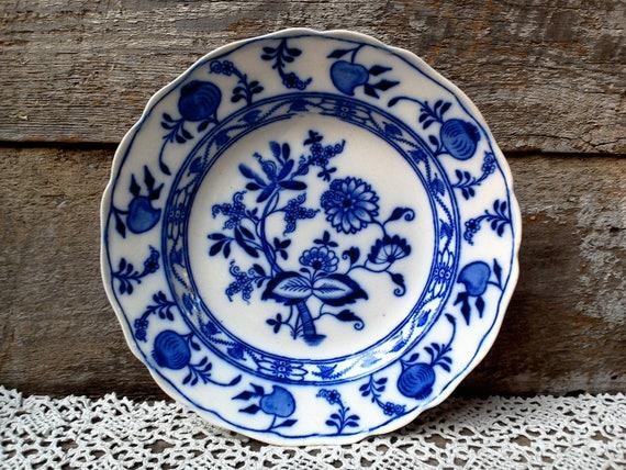Meissen Flow Blue Plate, Cauldron England, Cabinet Plate, Shallow Plate, Blue Transferware, Flow Blue