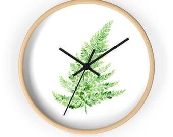 Modern Fern Wall Clock, white wall clock, botanical clock, leaf wall clock, minimalist clock, minimal clock, fern wall clock