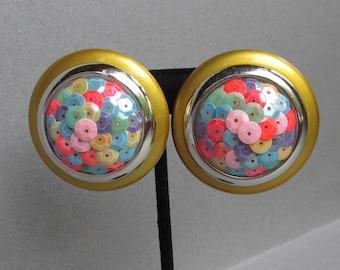 BIG Vibrant 1980's Multi Color SEQUIN Clip Button Earrings