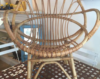 SOLD Vintage French Rattan Chair