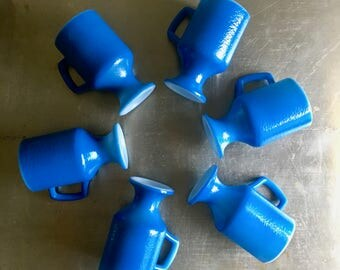 vintage footed coffee mugs blue orange peel textured retro set of 6