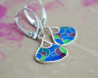 Handmade sterling silver earring with jewelry ennamel