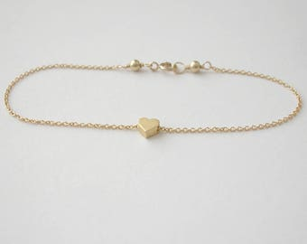 Heart Charm / Bracelet on Chain on Gold Filled Chain Best selling Gemstone Jewelry Gift