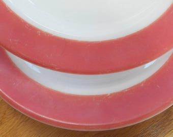 Vintage CORNING Pyrex Pink Flamingo Milk Glass Soup Salad Bowls/Dishes USA Lot of 2