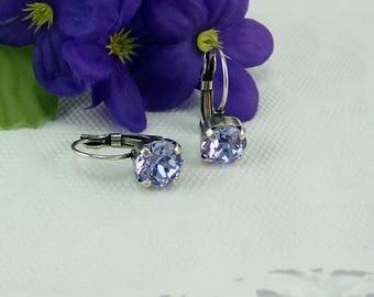 Tanzanite Earrings, Cup Set Earrings, Chaton Earrings, Swarovski Crystal Earrings, Leverback Earrings, Tanzanite Crystal, 39ss Crystal, 39ss