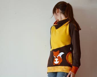 Fox hoodie,hoodie woman with fox applique,hoodies for women,hoodie fox,fox clothing-braun/yellow-ready to ship in size S (EU 36, UK 8, US 6)